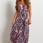 Light Pink Abstract Short Sleeve Maxi Dress