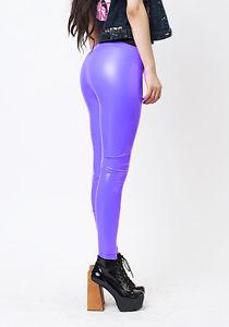 Image is loading Purple-Stretch-Vinyl-Pants-Shiny-Wet-Look-Bright-