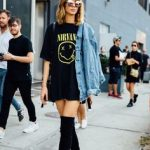 NYFW SS 2017 Street Style | Graphic band T-shirt dress, denim jacket,