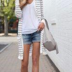 summer outfit ideas – striped duster cardigan with denim cut… Summer Fashion