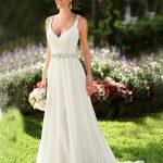 Summer Wedding Dress V-neck Ivory Chiffon Victorian Gothic Wedding Dress  2016 Cheap Backless Bohemian