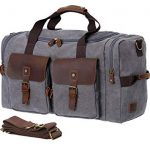 WOWBOX Duffle Bag Weekender Bag for Men and Women Genuine Leather Canvas  Travel Overnight Carry on