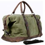 Vintage military Canvas Leather men travel bags Carry on Luggage bags Men  Duffel bags