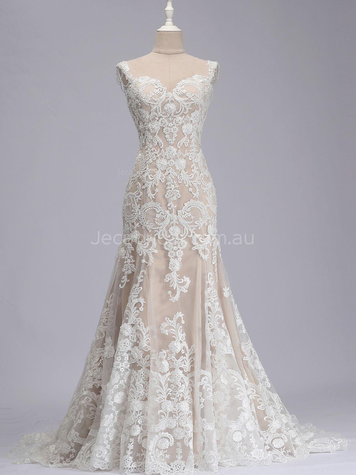 Sweetheart Neckline Beaded Straps Champagne Wedding Dress W1088 - Front