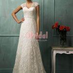 Elegant vintage lace sweetheart cap sleeve V neck A line empire wedding  dress