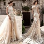 Discount 2017 Champagne Over Skirts Tulle Wedding Dresses A Line See  Through Vintage Lace Appliqued Sash Detachable Train Boho Bridal Wedding  Gowns Wedding