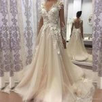 Discount 2018 Vintage Wedding Dress Boat Neck Long Sleeve Button Back 3D  Floral Apliques Custom Made Bridal Gowns Cheap Bride Dresses Christian  Wedding