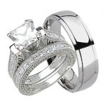 Traveller Location: His and Hers Wedding Ring Set Matching Trio Wedding Bands for  Him Her 10/5: Jewelry