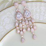 Crystal Bridal earrings, Bridal jewelry, Chandelier earrings, Statement  earrings, Rose Gold earrings