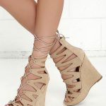 Perfect Form Natural Suede Lace-Up Platform Wedges