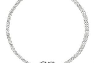 """14K White Gold Double Strand With Heart Anklet, 10"""""""