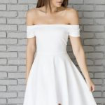 White Off Shoulder Sexy High Low Party Dress