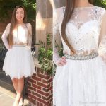 Long Sleeve Short White Party Dresses Two Piece Lace Prom Gowns For Young  Girls Crystal Beaded Homecoming Dress Party Dress For Baby Girl Party Dress  For