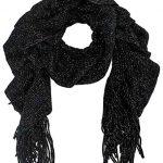 Black Metallic Ruffle Knit Winter Scarf