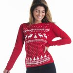 womens christmas jumper  women reindeer christmas jumper styled  longsleeve tee. red reindeer