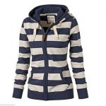 Women Hoodies Sweatshirts Autumn Light Thin Jackets Hot Women Striped  Zipper Hoodie Sweatshirt Jumper Top Hooded