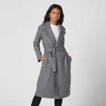 Womens Wool Blanket Maxi Coat in Grey