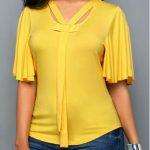 Yellow Keyhole Back Pleated Sleeve Blouse