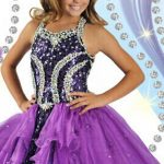 2016 Amazing Purple Ball Gown Halter Beads Sequins Custom made Organza  Floor Length Girls Pageant Dresses