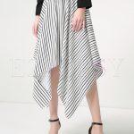 Chic Striped Asymmetric A-line Skirt