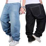 Image is loading US-Men-Jeans-Pants-Baggy-Loose-Fit-Denim-
