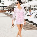 White lace is a winning choice to wear over swimwear at the beach!  Christine Andrew