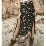 long beach skirts summer women print floral sun holiday female maxi  Bohemian skirt slit space pleated