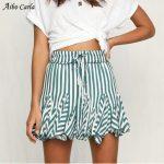Striped Skirt Elastic Tie Waist Ruffle Skirts Summer New Women Casual Short  Mini Beach Skirt Fashion