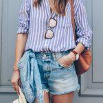 Striped Oxford Button Up Shirt + Cut Off Denim Shorts + Blue Paisley  Bandana + Straw Hat from Jess Ann Kirby