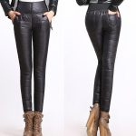 New Winter Pants High Waisted Outer Wear Women Fashion Slim Warm Windproof  Plus Velvet Thick Down Pants Trousers