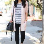 Black Striped Tee + Blush Cardigan + Leggings + White Sneakers + Black Bag