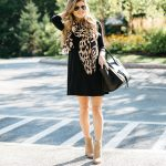 black swing dress with boots, leopard scarf, dress with ankle booties, black  dress with leopard print scarf, celine phantom tote, pointed toe suede  booties