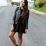 black ankle boots - black lace H&M dress - black leather H&M jacket