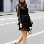 Emily S - Self Portrait Black Long Sleeve Lace Mini Dress, Black Heeled Ankle  Boots