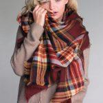 burgundy plaid oversized blanket scarf