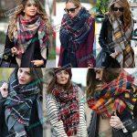 Image is loading Lady-Women-Blanket-Oversized-Tartan-Scarf-Wrap-Shawl-
