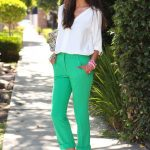 White Blouse Outfit with Green Pants