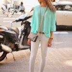 @roressclothes clothing ideas #women fashion Chiffon Blouse Outfit Idea in  Mint
