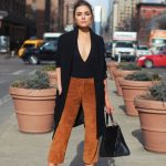 25 Bodysuit Outfit Ideas for Summer 2016 | black V neck bodysuit, burnt  orange suede cropped pants, and pointed toe pumps