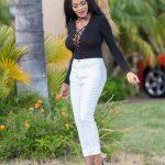 Lace Up Bodysuit + White Jeans