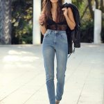 lace bodysuit and jeans