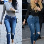 jeans khloe kardashian kourtney kardashian bodysuit ripped jeans sunglasses  kardashians
