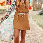 boho chic outfit idea : hat + boots + dress + printed cardi