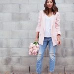 Song of Style | Rebecca Taylor Pink Blazer; AG Jeans White Tee; Res Denim  Ripped Boyfriend Jeans; Bionda Castana Snakeskin Lace Up Pumps