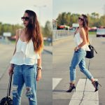 Zuza Str - - White top & boyfriend jeans