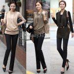 Autumn Clothing Women Knit Long Sleeve T-Shirts Top Korean Slim Dress Mini  Dresses