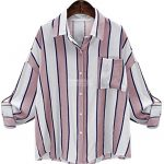 ten is heart Long Sleeve Blouse Shirts Striped Women Cute Tops Big  Silhouette (Small,