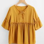 Casual Cute Tops Frill Trim Smock Blouse - LT8IAE37733182 - Yellow -  Polyester Blouses