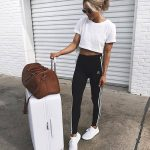 Cute and comfy white travel outfit.
