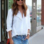 Classic white shirt and cutoffs.